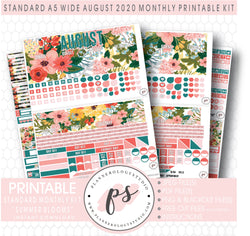 Summer Blooms August 2020 Monthly Kit Digital Printable Planner Stickers (for use with Standard A5 Wide Planners)