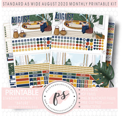 Nature August 2020 Monthly Kit Digital Printable Planner Stickers (for use with Standard A5 Wide Planners)