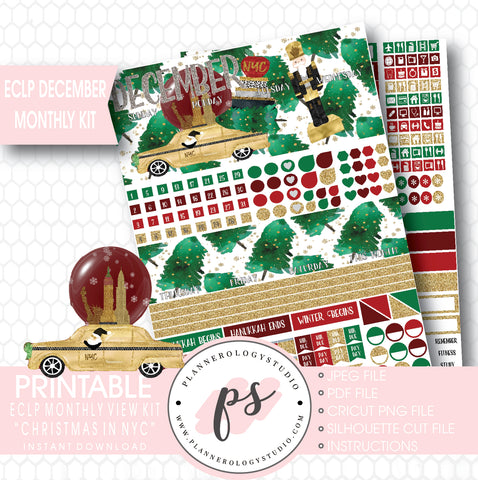 Christmas in NYC December 2017 Monthly View Kit Printable Planner Stickers (for use with ECLP) - Plannerologystudio