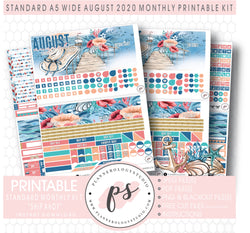 Ship Ahoy August 2020 Monthly Kit Digital Printable Planner Stickers (for use with Standard A5 Wide Planners)