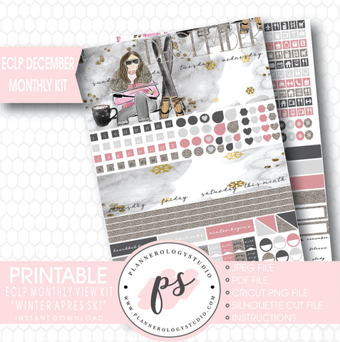 Winter Apres Ski December Monthly View Kit Printable Planner Stickers (for use with ECLP) - Plannerologystudio