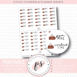 Gym & Workout Time Bujo Script & Icon Digital Printable Planner Stickers
