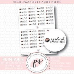 Eyelash Appointment Bujo Script & Icon Digital Printable Planner Stickers