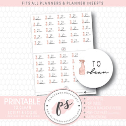 To Clean Bujo Script & Icon Digital Printable Planner Stickers