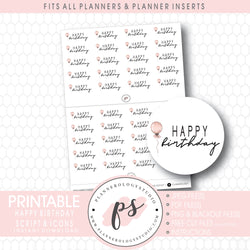 Happy Birthday Bujo Script & Icon Digital Printable Planner Stickers