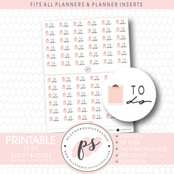 To Do Bujo Script & Icon Digital Printable Planner Stickers