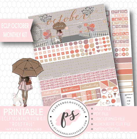 Rose Fall (Dark Skin Tone) October 2017 Monthly View Kit Printable Planner Stickers (for use with ECLP) - Plannerologystudio