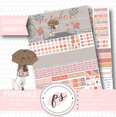 Rose Fall October 2017 Monthly View Kit Printable Planner Stickers (for use with ECLP) - Plannerologystudio