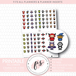 Halloween Characters Icon Digital Printable Planner Stickers