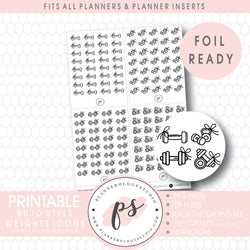 Gym Weights with Bows Icon Digital Printable Planner Stickers (Foil Ready)