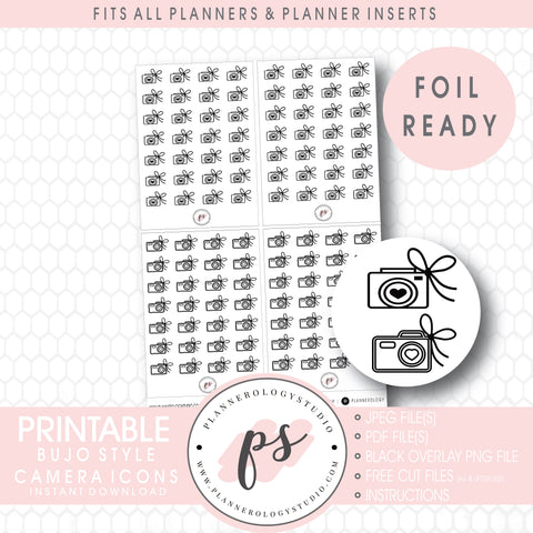 Cameras with Bows Icon Digital Printable Planner Stickers (Foil Ready)