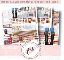 Fall in the Park September 2020 Monthly Kit Digital Printable Planner Stickers (for use with Standard A5 Wide Planners)