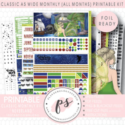Neverland Foil Ready Monthly Kit Digital Printable Planner Stickers (Undated All Months for Classic A5 Wide Planners)