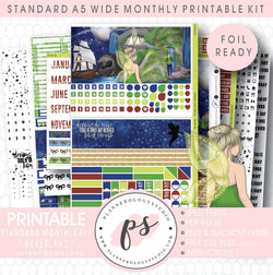 Neverland Foil Ready Monthly Kit Digital Printable Planner Stickers (Undated All Months for Standard A5 Wide Planners)