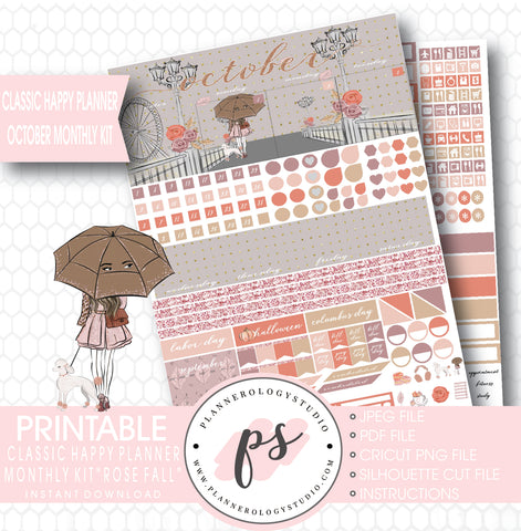 Rose Fall October 2017 Monthly View Kit Printable Planner Stickers (for use with Classic Happy Planner) - Plannerologystudio