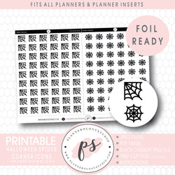 Spider Cobweb Halloween Icon Digital Printable Planner Stickers (Foil Ready)