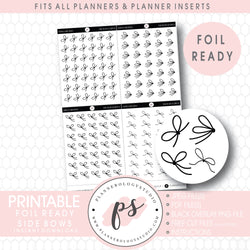 Various Side Bow Decorative Elements Digital Printable Planner Stickers (Foil Ready)