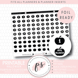 Halloween Countdown Digital Printable Planner Stickers (Foil Ready)