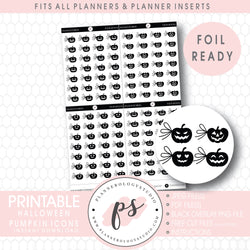 Halloween Pumpkin Side Bow Icons Digital Printable Planner Stickers (Foil Ready)