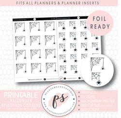 Halloween Spiderweb Corners Digital Printable Planner Stickers (Foil Ready)