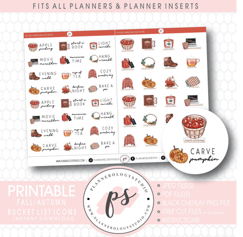Fall/Autumn Bucket List Icons & Script Digital Printable Planner Stickers