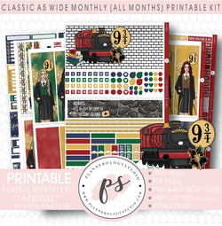H Express (Harry Potter Inspired) Monthly Kit Digital Printable Planner Stickers (Undated All Months for Classic A5 Wide Planners)