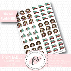 Cute Christmas Girls Icon Printable Planner Stickers - Plannerologystudio