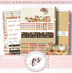 Harvest (Fall/Thanksgiving) Monthly Kit Digital Printable Planner Stickers (Undated All Months for Classic A5 Wide Planners)