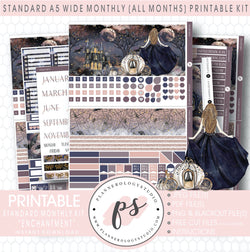 Enchantment Monthly Kit Digital Printable Planner Stickers (Undated All Months for Standard A5 Wide Planners)