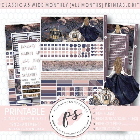 Enchantment Monthly Kit Digital Printable Planner Stickers (Undated All Months for Classic A5 Wide Planners)