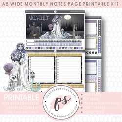 Creepy Halloween Monthly Notes Page Kit Digital Printable Planner Stickers (for use with Standard A5 Wide Planners)