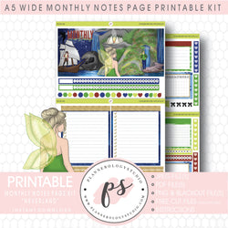 Neverland Monthly Notes Page Kit Digital Printable Planner Stickers (for use with Standard A5 Wide Planners)