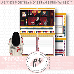 Scary Movie Monthly Notes Page Kit Digital Printable Planner Stickers (for use with Standard A5 Wide Planners)