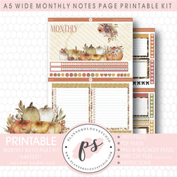 Harvest Monthly Notes Page Kit Digital Printable Planner Stickers (for use with Standard A5 Wide Planners)