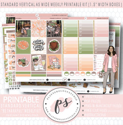 Be Thankful Weekly Digital Printable Planner Stickers Kit (for use with Standard Vertical A5 Wide Planners)