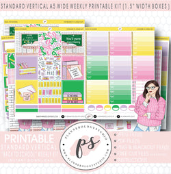 Back to School Weekly Digital Printable Planner Stickers Kit (for use with Standard Vertical A5 Wide Planners)