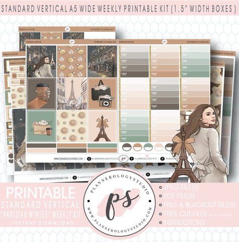 Parisian Winter Weekly Digital Printable Planner Stickers Kit (for use with Standard Vertical A5 Wide Planners)
