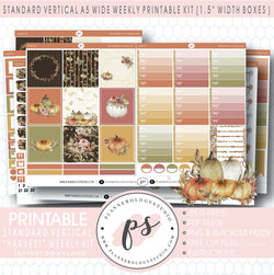 Harvest Weekly Digital Printable Planner Stickers Kit (for use with Standard Vertical A5 Wide Planners)