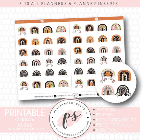 Decorative Scandi Rainbow Doodle Icons Digital Printable Planner Stickers