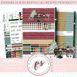 Christmas Carol Monthly Kit Digital Printable Planner Stickers (Undated All Months for Standard A5 Wide Planners)