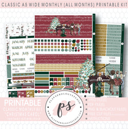 Christmas Carol Monthly Kit Digital Printable Planner Stickers (Undated All Months for Classic A5 Wide Planners)
