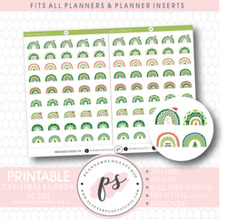 Decorative Christmas Scandi Rainbow Doodle Icons Digital Printable Planner Stickers