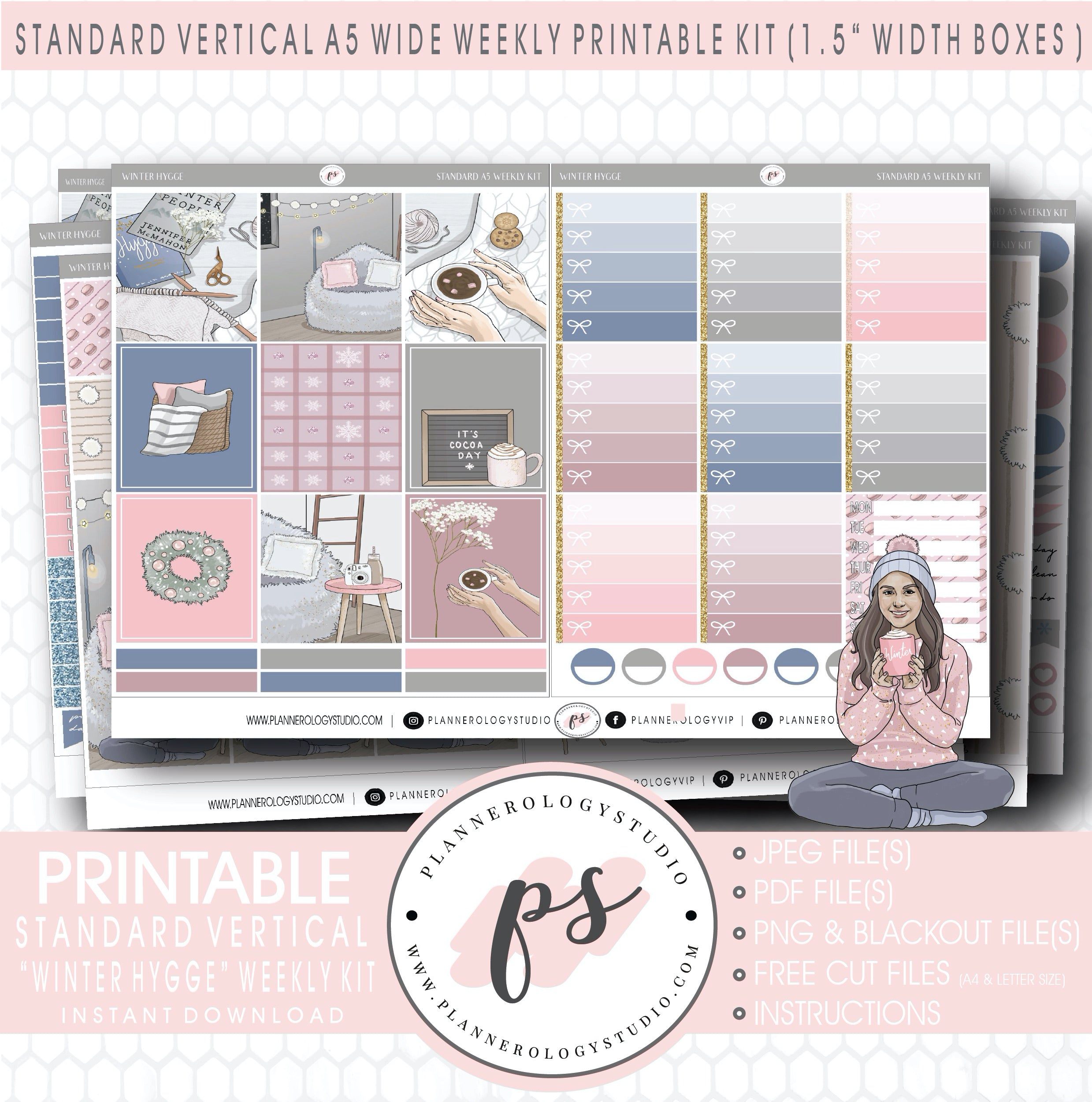 Snowy Hygge 2021 Erin Condren Vertical Weekly Photo Kit Printable Planner Stickers with Silhouette Cut files