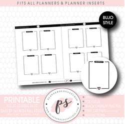 Days of the Week (Monday to Sunday) Full Boxes Bujo Bullet Journal Digital Printable Planner Stickers