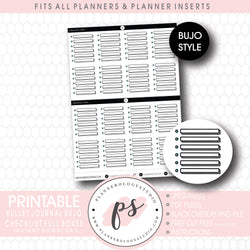 Checklist Full Boxes Bujo Bullet Journal Digital Printable Planner Stickers