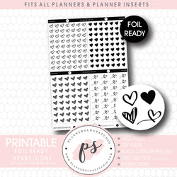 Various Heart Icon Digital Printable Planner Stickers (Foil Ready)