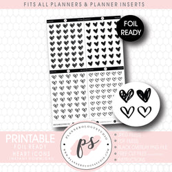 Decorative Heart Icon Digital Printable Planner Stickers (Foil Ready)