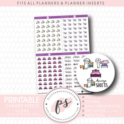 Change Bedsheets Bujo Script & Icon Digital Printable Planner Stickers