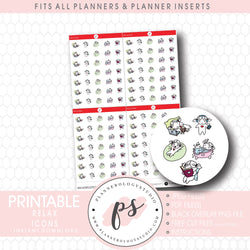 Relax Bujo Emoticon Icon Digital Printable Planner Stickers