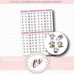 Study Bujo Emoticon Icon Digital Printable Planner Stickers